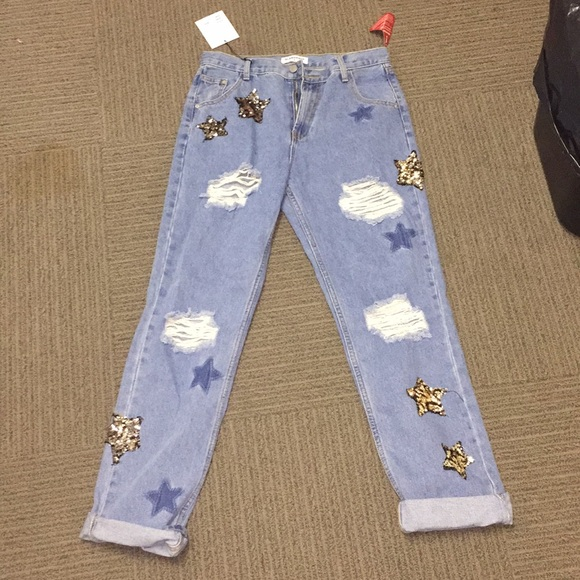 2d68bd15bff Sequin Star Mom Jeans